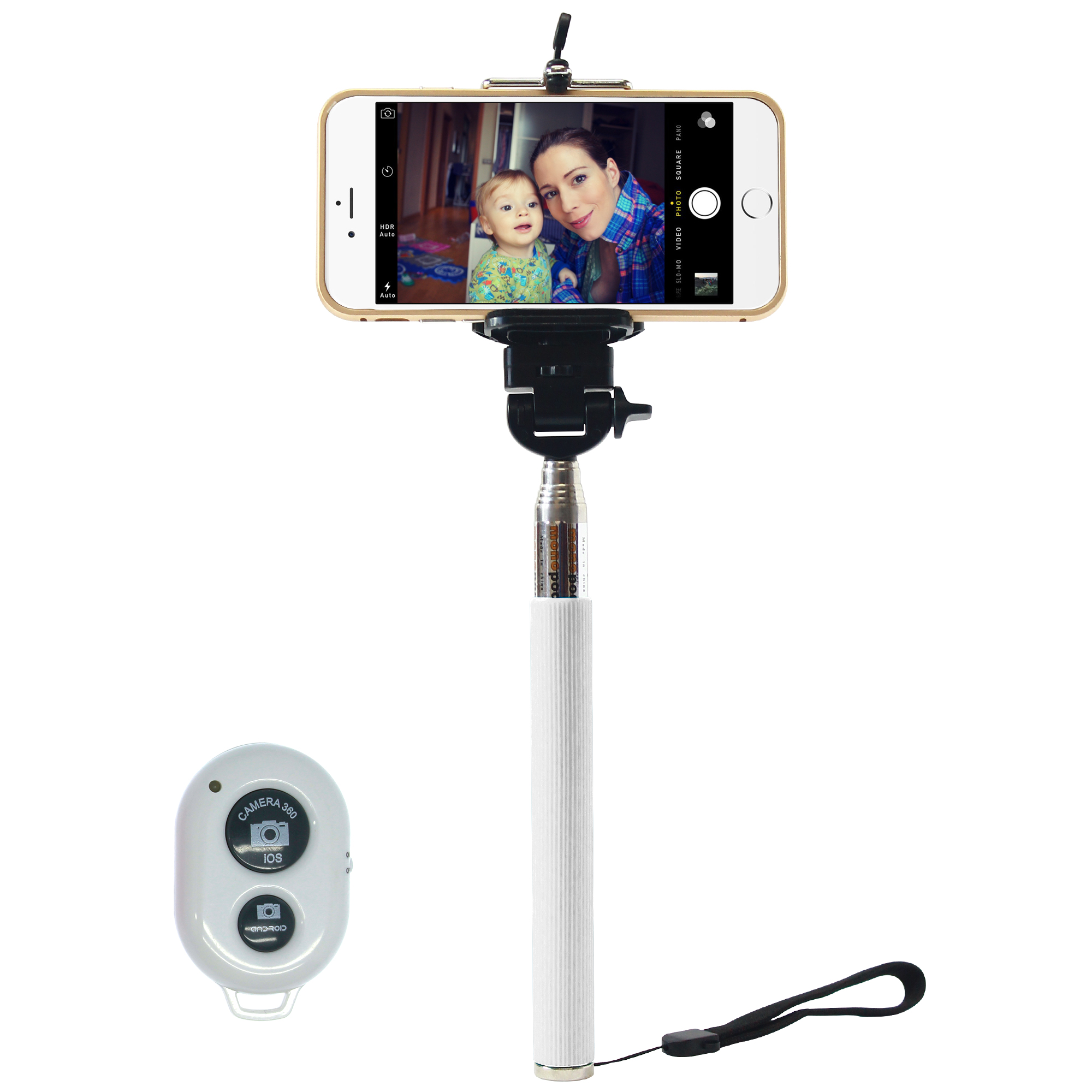 bluetooth shutter extendable handheld selfie stick monopod for iphone 5 5s 6. Black Bedroom Furniture Sets. Home Design Ideas