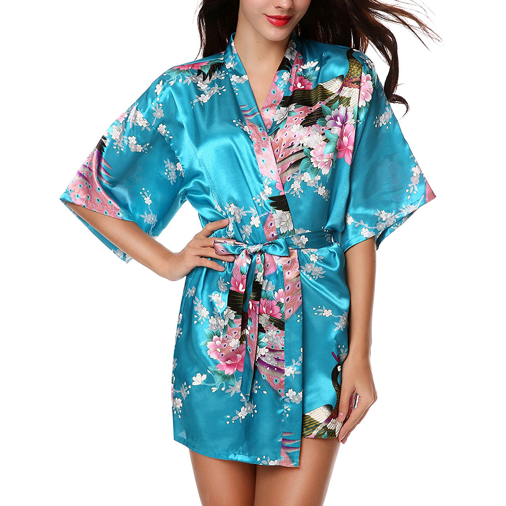 women 39 s silk sexy peacock kimono robes gown bathrobe babydoll lingerie ebay. Black Bedroom Furniture Sets. Home Design Ideas
