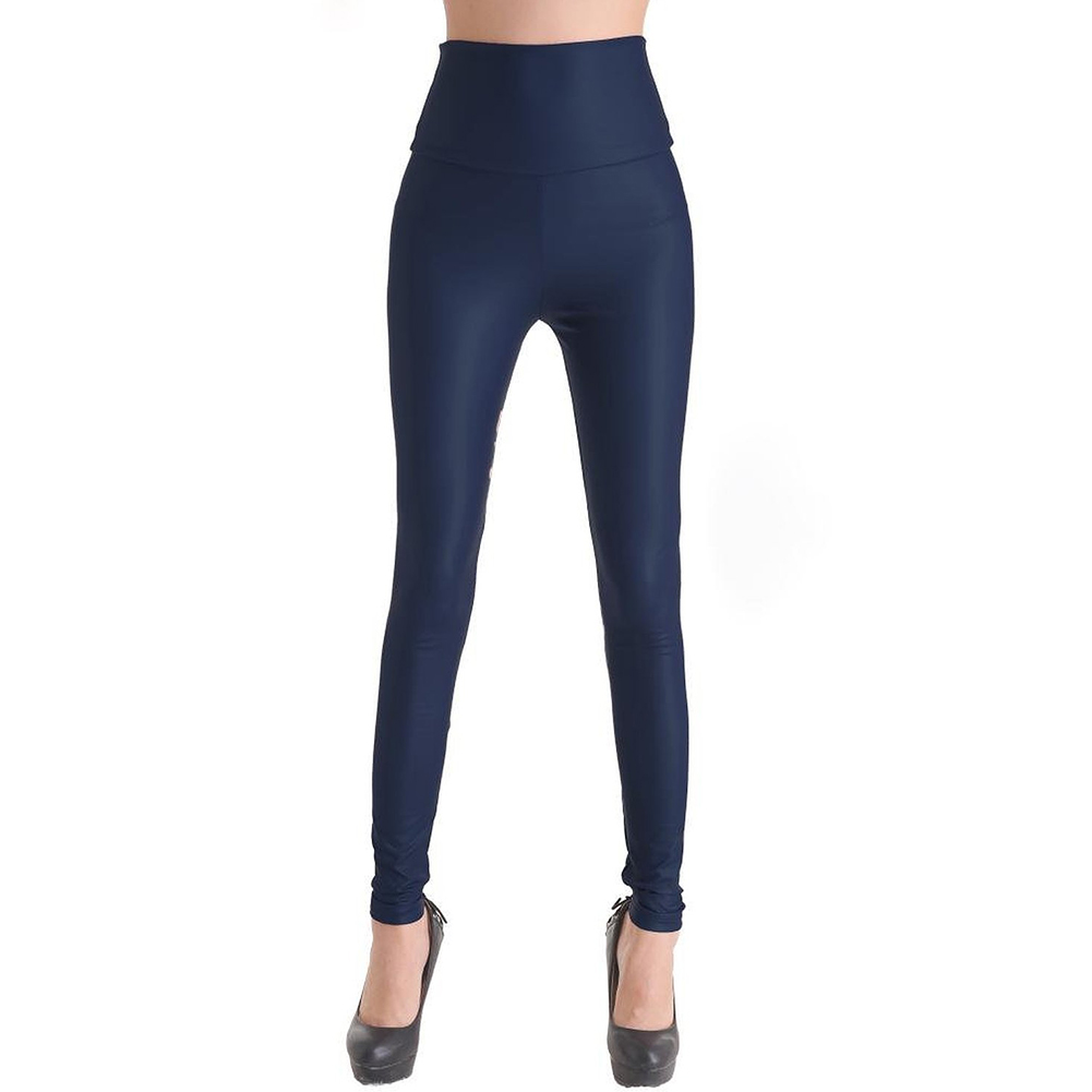 Navy Blue Faux Leather Stretchy Leggings Solid Wet Look High Waist ...