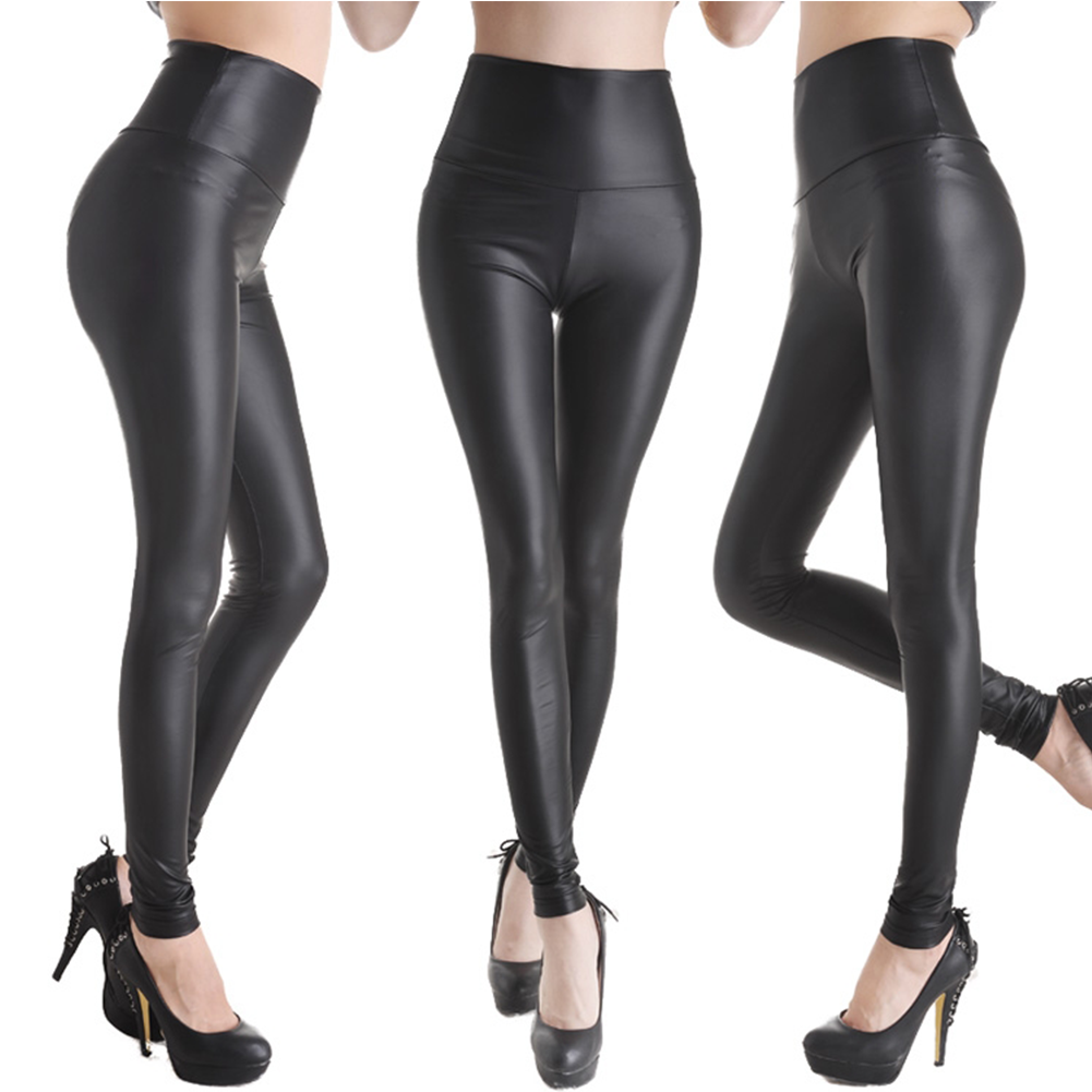 Fashion Sexy Women High Waist Black Stretchy Faux Leather Pants ...