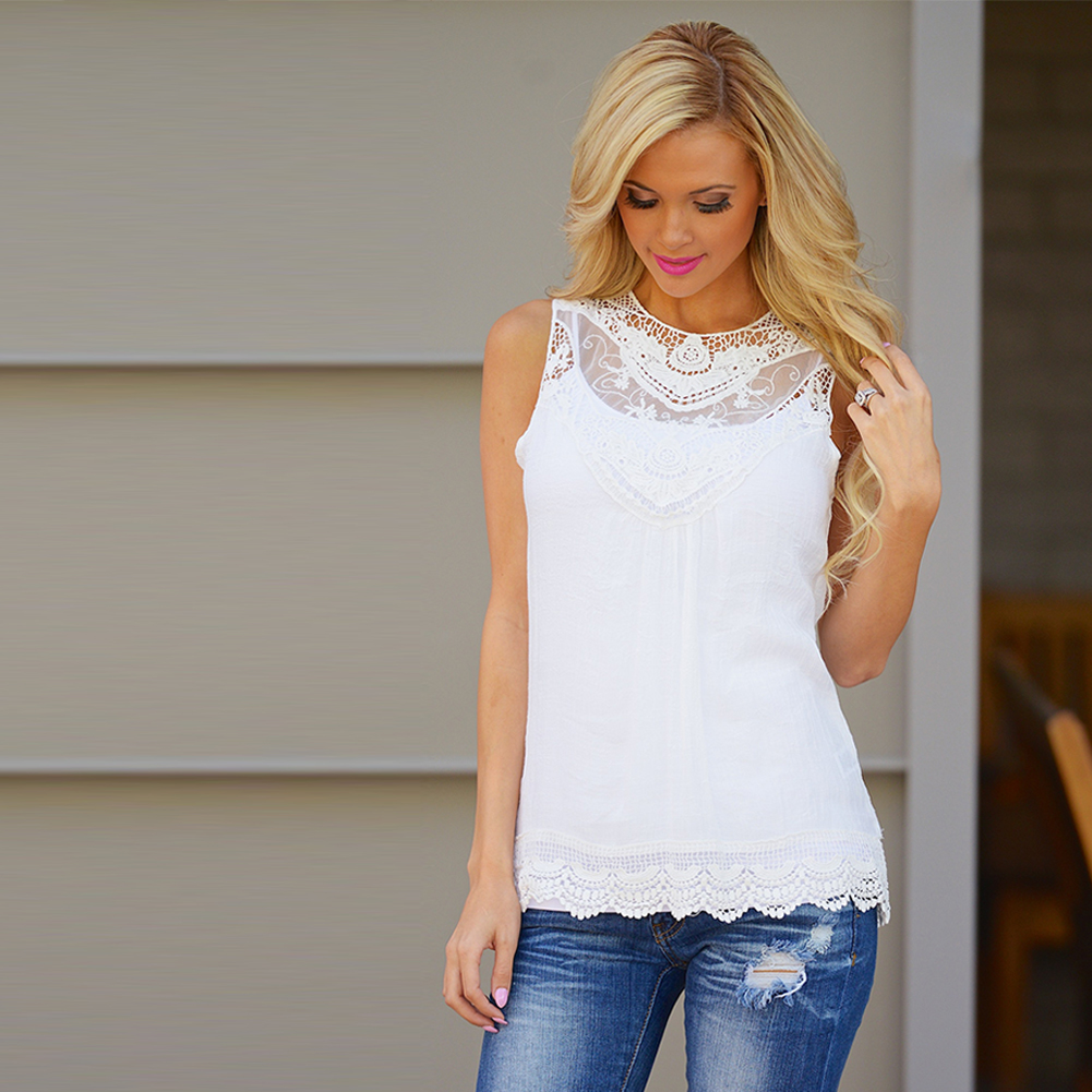 Fashion women casual summer cotton loose sleeveless beach for Ladies shirts and tops blouses