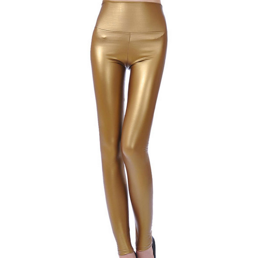 Womens High Waist Skinny Golden Shinny Spandex Leggings Jeggings ...