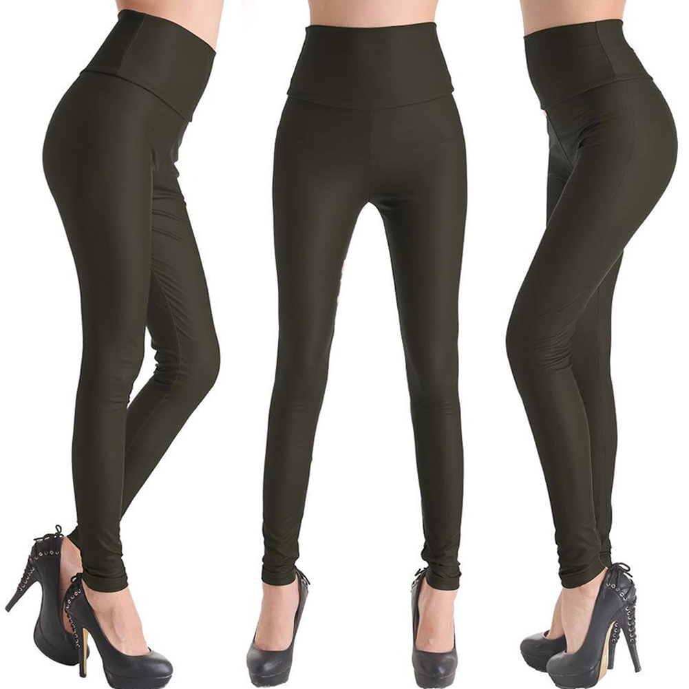 Sexy Womens Skinny Faux Leather u0026 Pleuche High Waist Trousers Leggings Pants | eBay