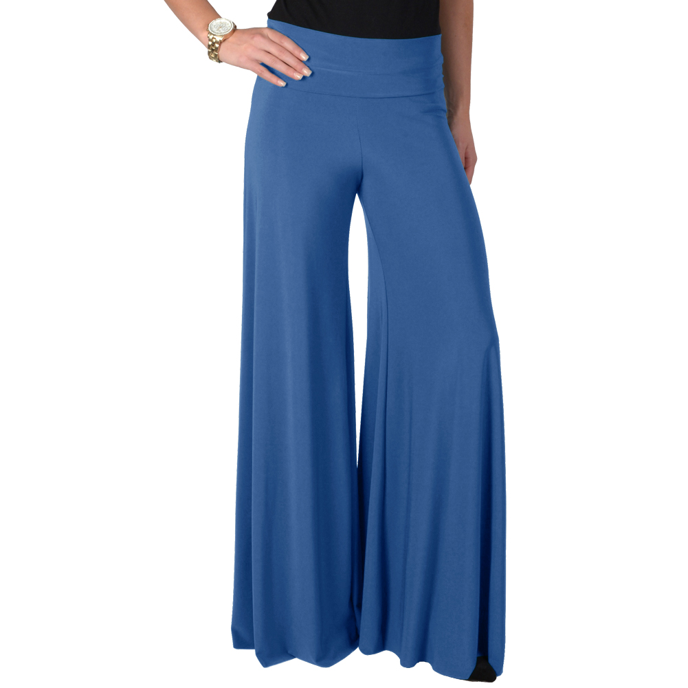 Womens Wide Leg Fashion High Waist Palazzo Long Casual Dress Pants ...