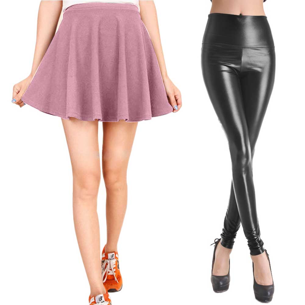 womens faux leather tight small flared