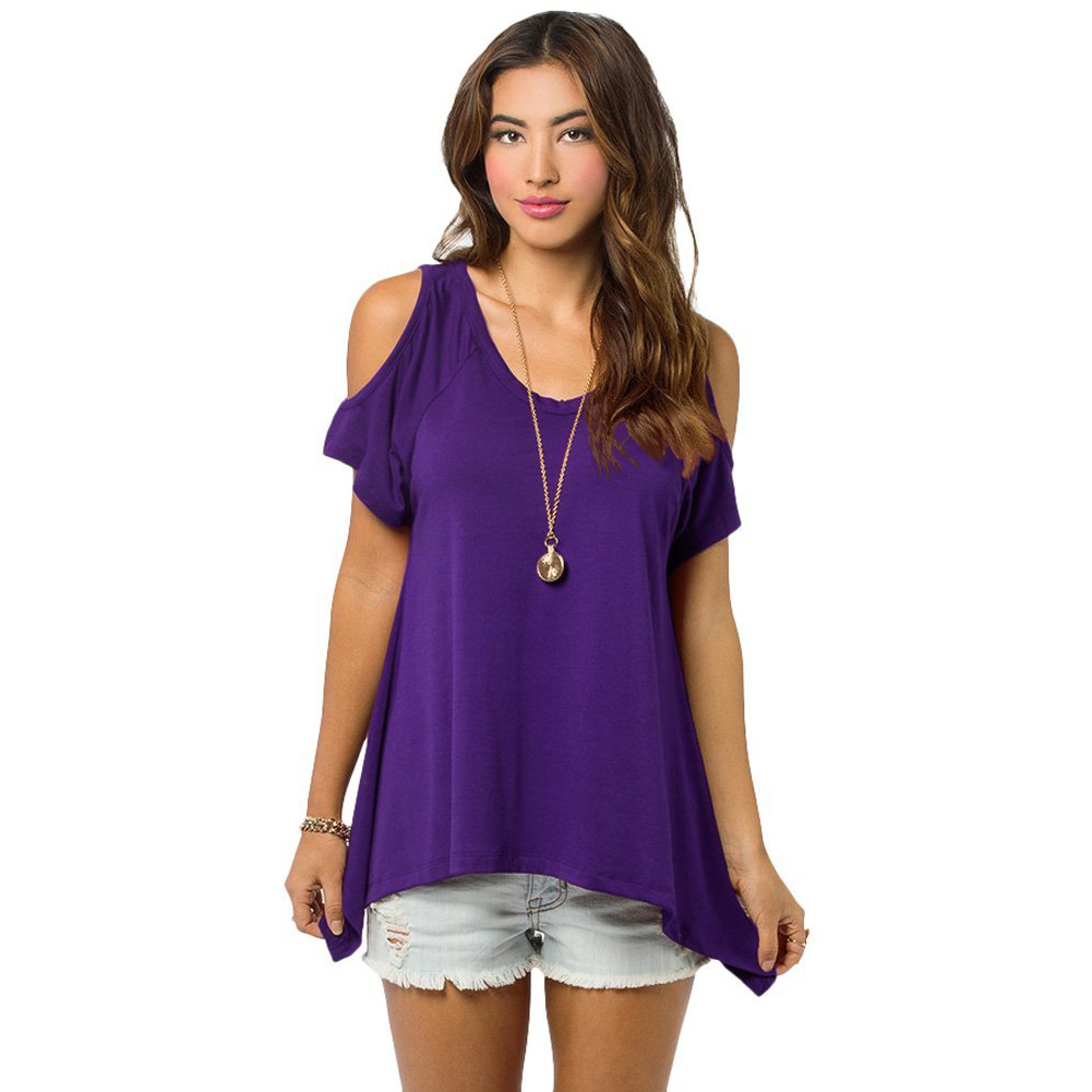 Sexy womens loose summer tops short sleeve blouse off for Best t shirts for summer