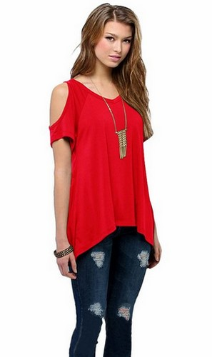 Sexy Womens Loose Summer Tops Short Sleeve Blouse Off Shoulder T ...