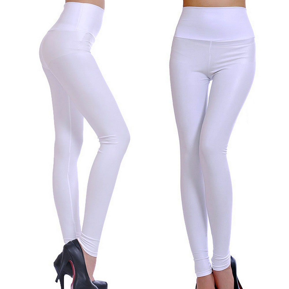 Sexy Womens Skinny Faux Leather & Pleuche High Waist Trousers ...